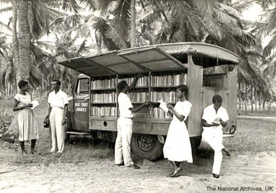 A bookmobile in Ghana, 1955