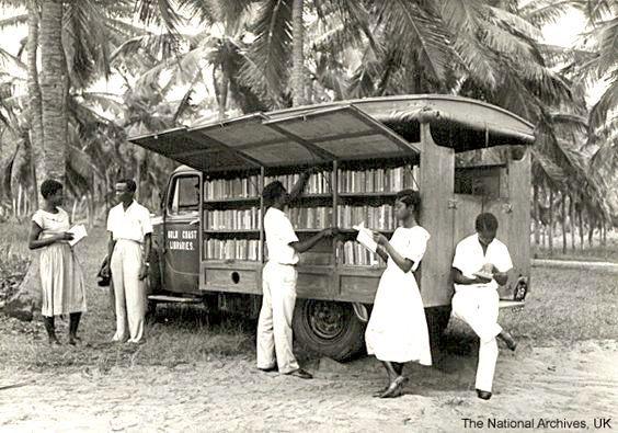 A bookmobile in Ghana, 1955
