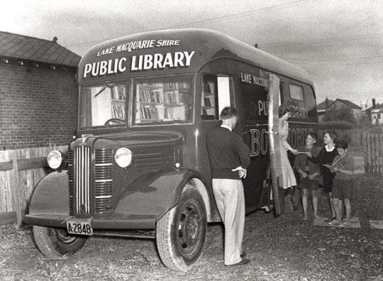 A bookmobile in Lake Macquarie, Australia, 1950