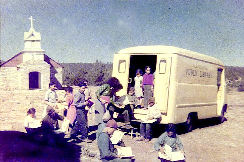 A bookmobile of Albuquerque Public LIbrary stops in Tijeras village, 1955