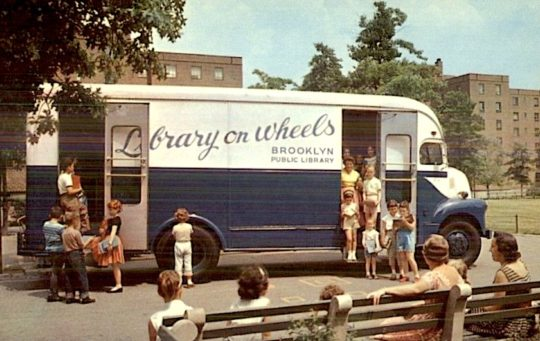 A bookmobile of Brooklyn Public Library at Glenwood Houses