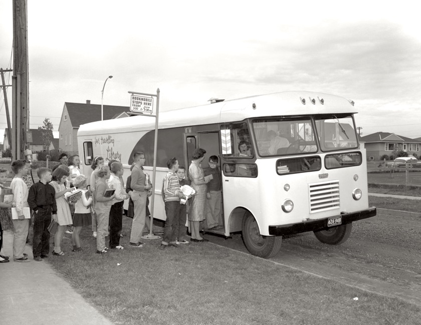 A bookmobile of Edmonton Public Library, Alberta Province, Canada