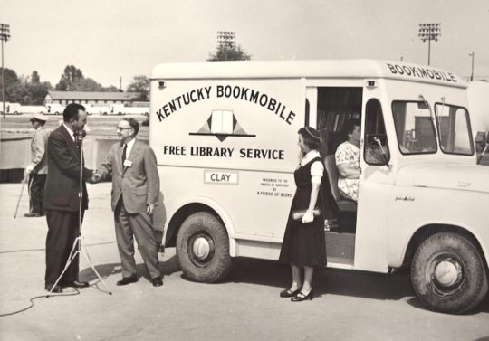 A booktruck of the Clay County Library 1950s