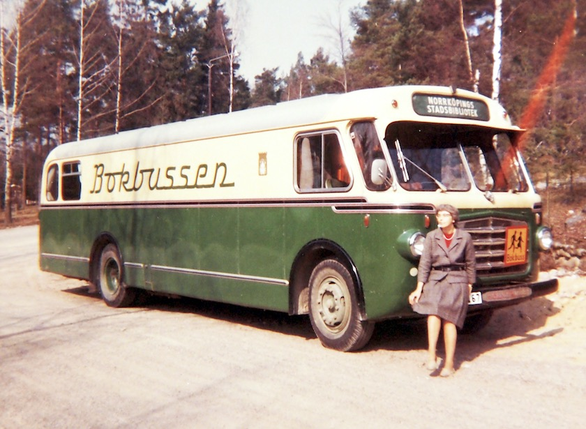 A first bookbus of the Norrköping Public Library, 1950s
