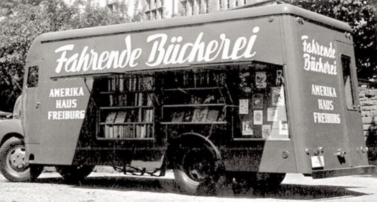 A mobile library of the German-American Institute in Freiburg, Germany, 1952
