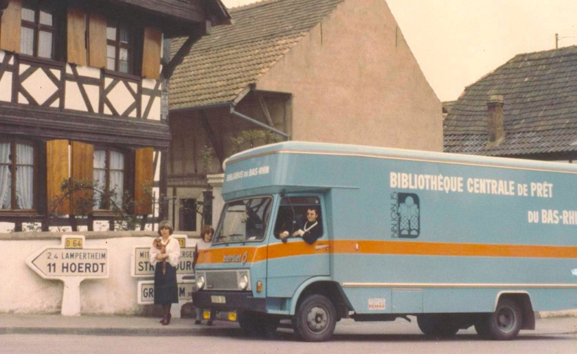 A mobile library point of the Bas-Rhin Public Library, France, early 1970s