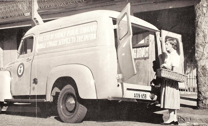 A special mobile service for the disabled offered by the Sydney Public Library, 1955