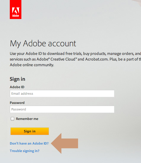 Adobe ID sign up