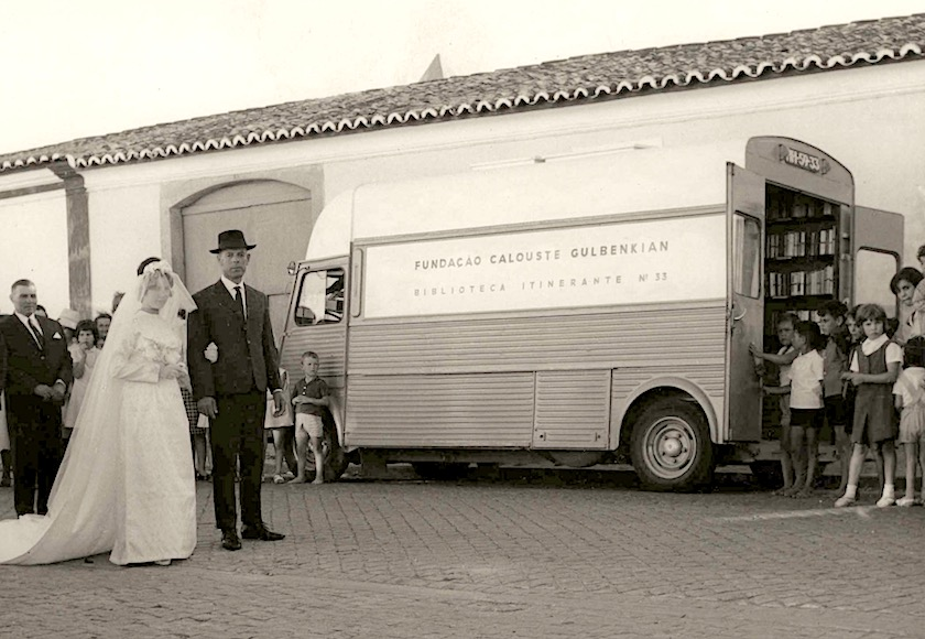 Bookmobile No. 33 of Calouste Gulbenkian Foundation visiting Estremoz city in Portugal