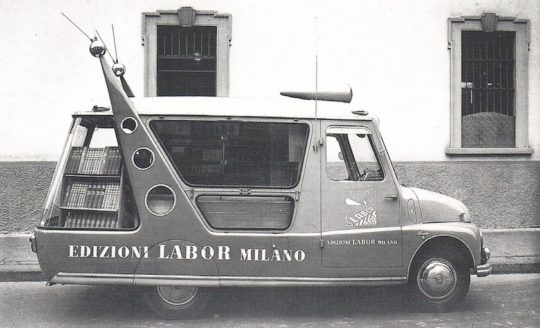 Bookmobile and promotional vehicle of Edizioni Labor Milano publishing house, 1953