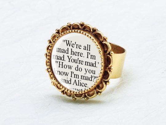 C.S. Literary Jewelry - Alice in Wonderland ring