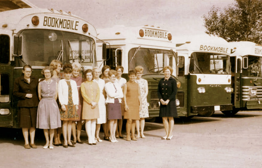 Calgary Public Library bookmobile staff and fleet 1968