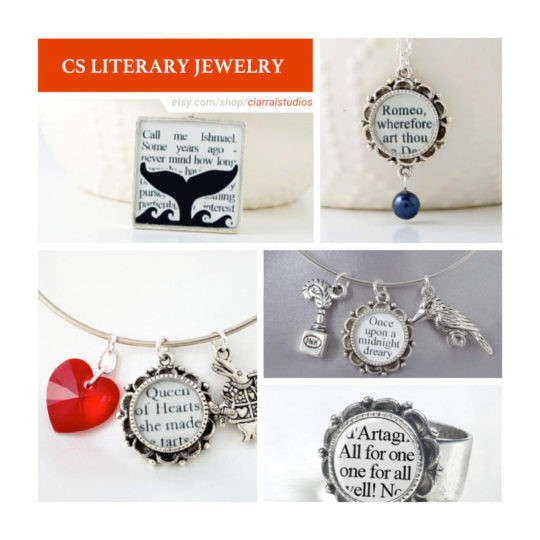 Etsy shops for book lovers:  C.S. Literary Jewelry
