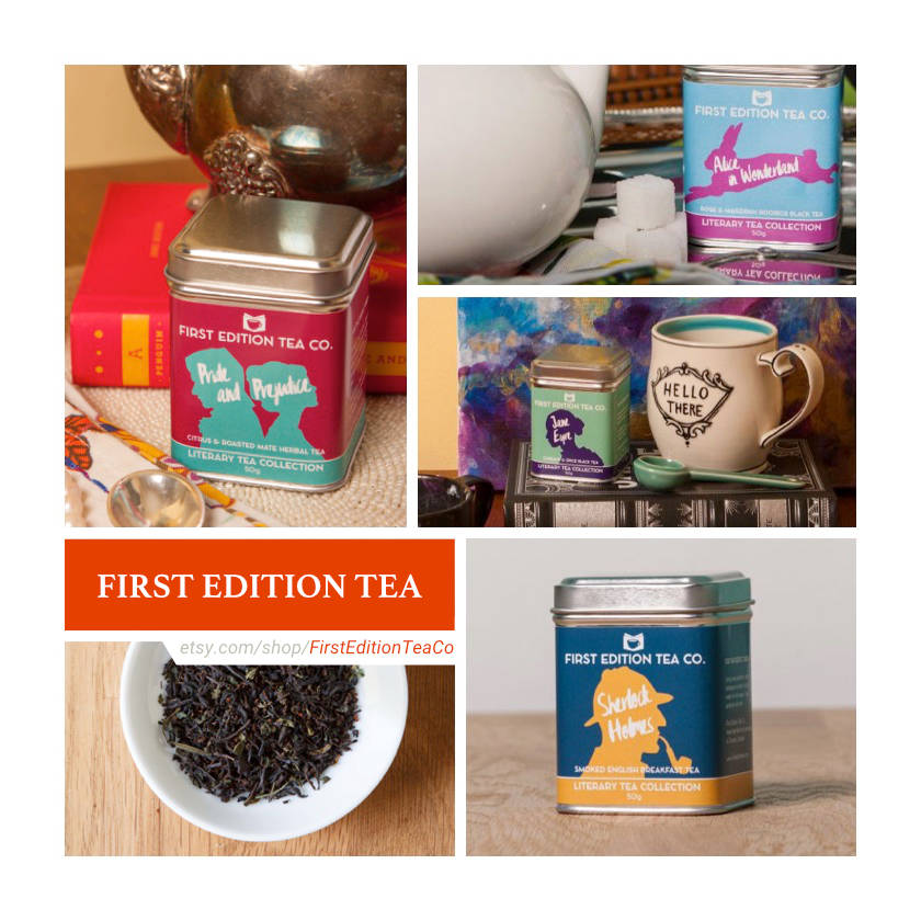 Etsy shops for book lovers: First Edition Tea Co.