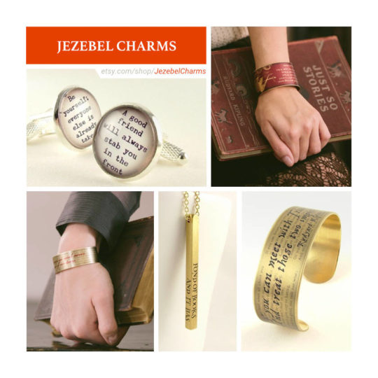 Etsy shops for book lovers: Jezebel Charms