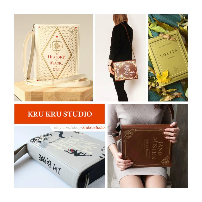 Etsy shops for book lovers: Kru Kru Studio