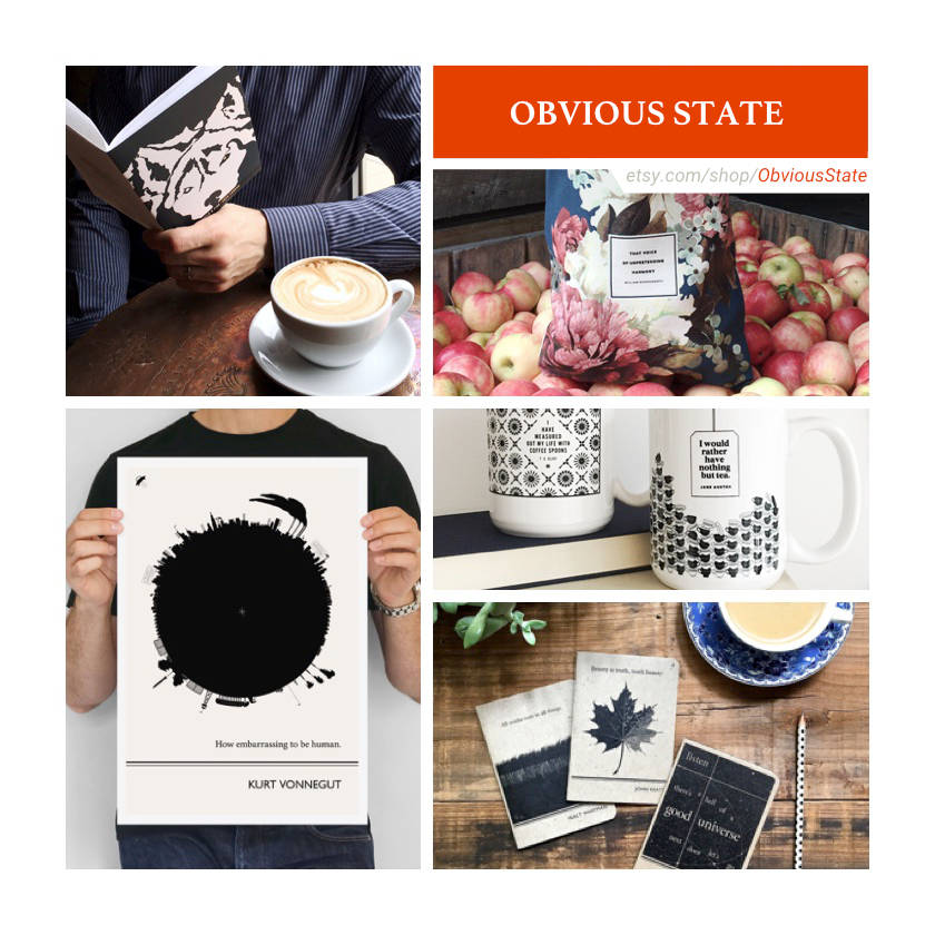 Etsy shops for book lovers: Obvious State