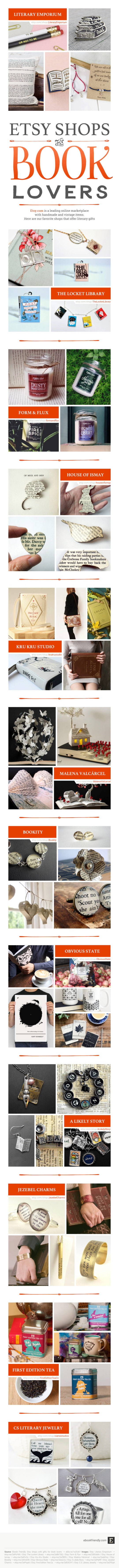 Etsy shops for book lovers #infographic