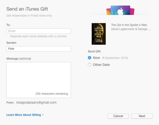 Gift the ebook from the iBooks Store - the dialog box