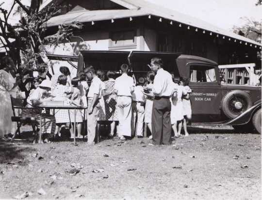 Library of Hawaii bookmobile in the 1930s
