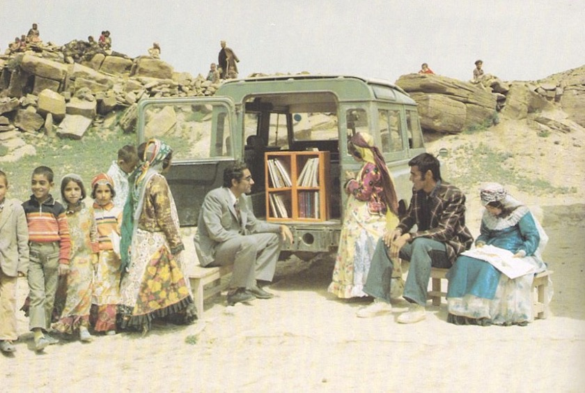 Mohammad Bahmanbeigi and his mobile library in Iran, 1970s