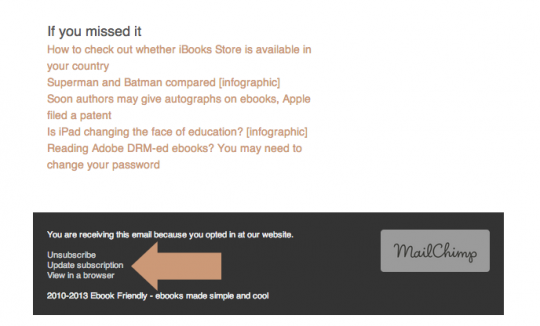 New email updates from Ebook Friendly - options