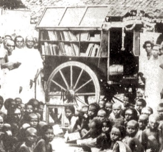 One of the first bookmobiles in India, 1931