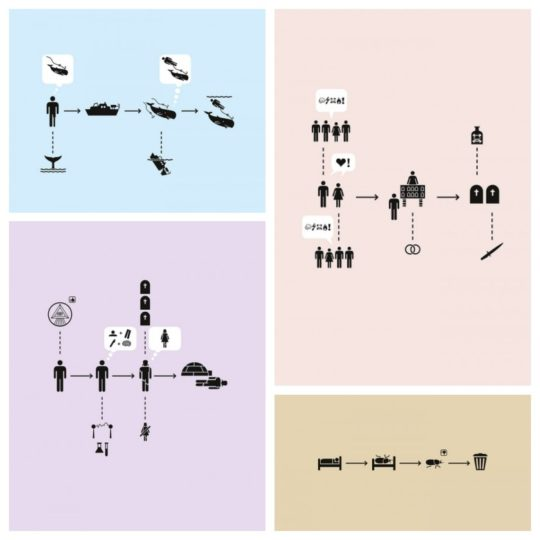 Pictograms by H-57 cleverly describe seven famous books
