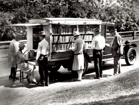 The first bookmobile of the Public Library of Cincinnati & Hamilton County, 1927
