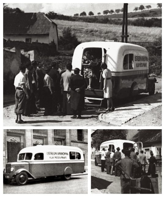 The first bookmobile of the City Library of Prague, 1939