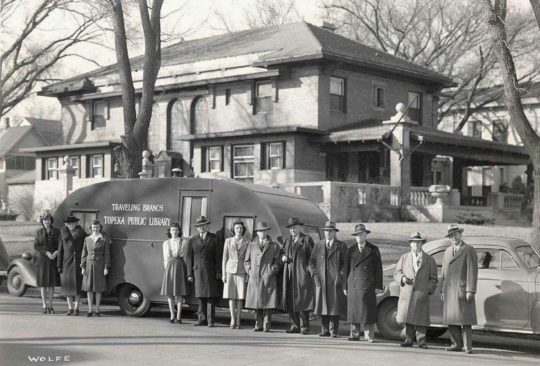 Vintage photos of mobile libraries: Traveling Branch of the Topeka Public Library, 1943