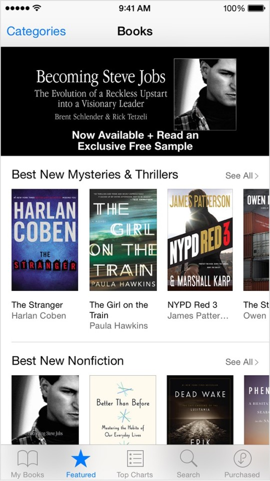 iBooks for iPhone - the bottom navigation bar lets quickly browse the iBooks Store