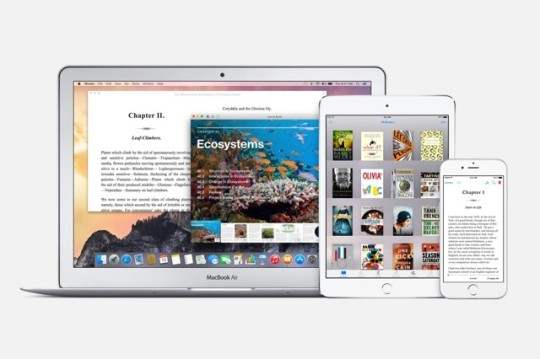 iBooks is available for iPhone, iPad, and Mac