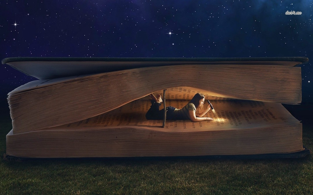 Girl Reading Inside a Book - wallpaper for a laptop, tablet, phone