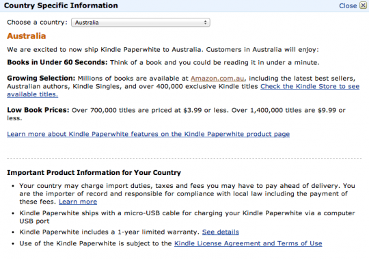 Kindle Store Australia country specific information