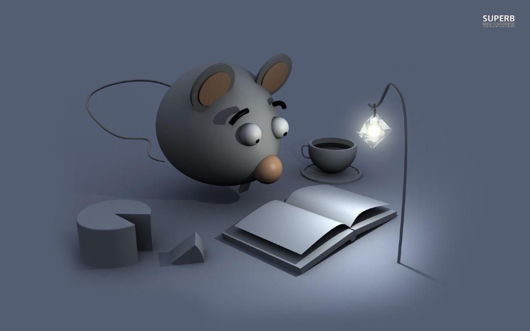 Mouse Reading a Book - a wallpaper for computers and tablets