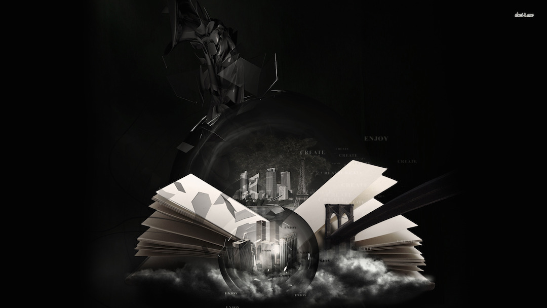 The World in a Book - black and white, abstract book wallpaper for tablets, laptops, smartphones