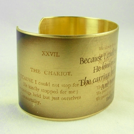 Emily Dickinson Literary Poetry Brass Cuff Bracelet - booklover's dream gift