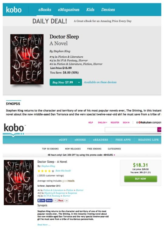 Kobo - comparison of prices