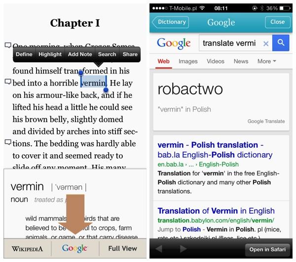 Kobo - translate text using Google Translate