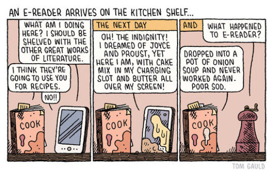 An e-reader arrives on the kitchen desk - cartoons about the future of books