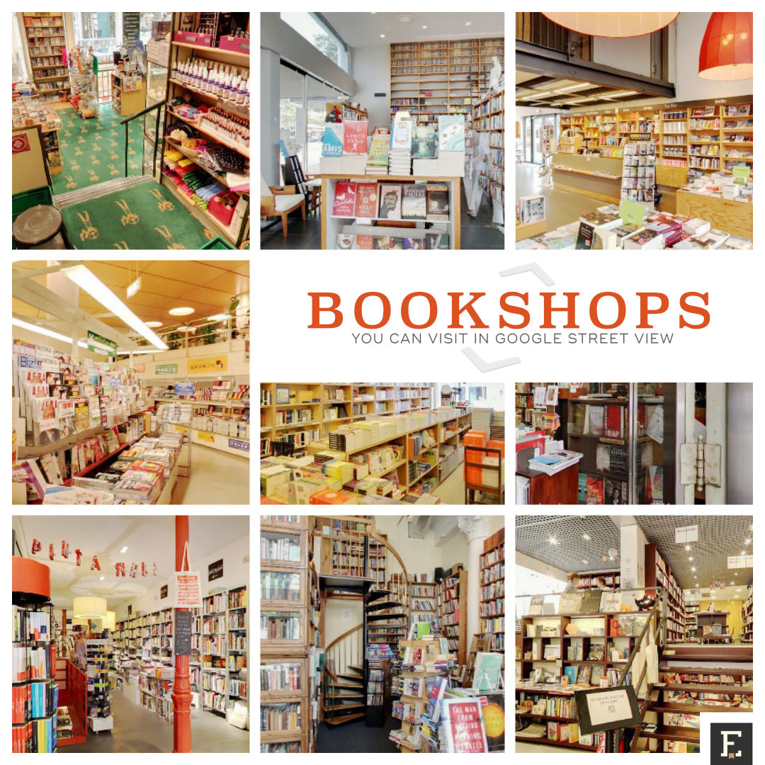 Bookshops you can visit right now using interior tours in Google Maps