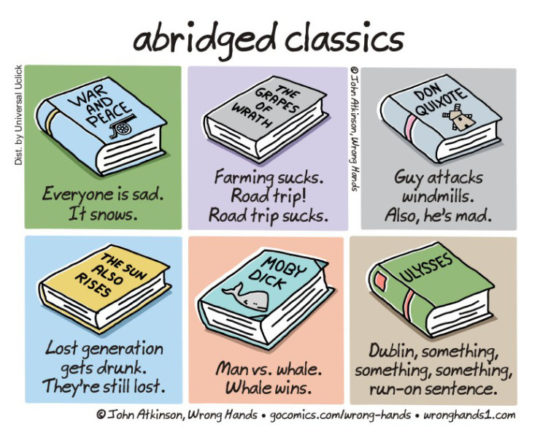 Cartoons about the future of books - Abridged classics - John Atkinson