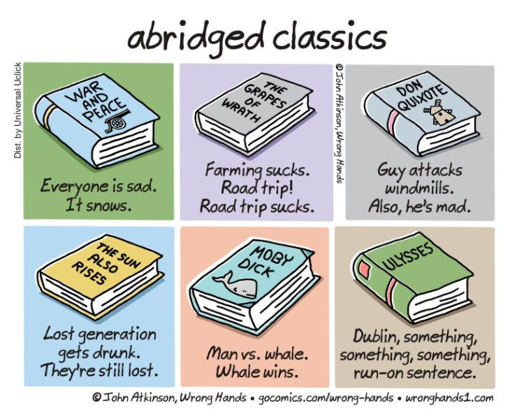 Cartoons about the future of books - Abridged classics - John Atkinson