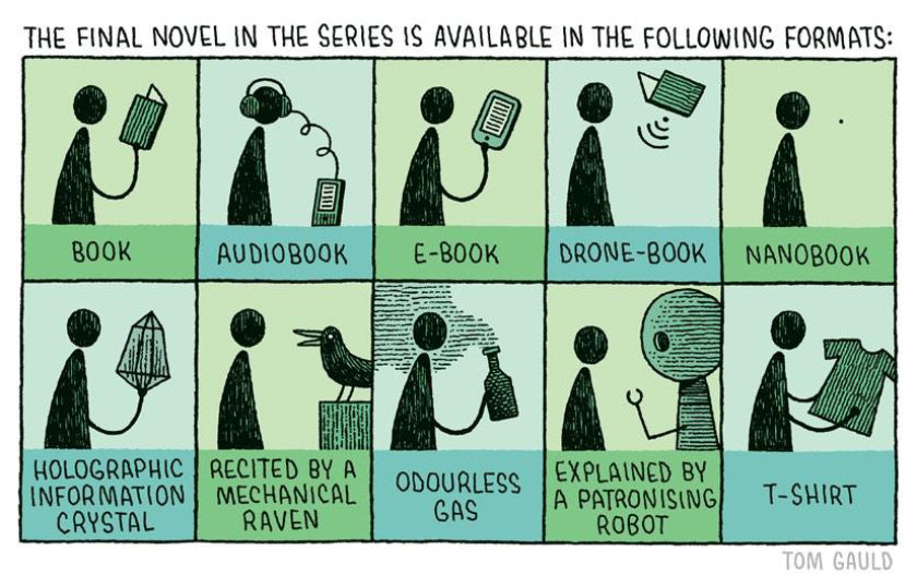 Cartoons about the future of books - Available book formats - a cartoon by Tom Gauld