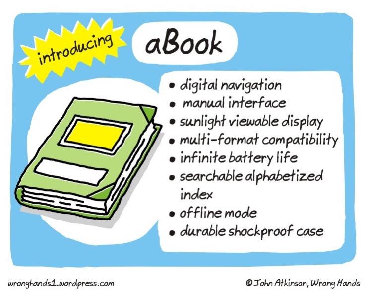 Cartoons about the future of books - Introducing aBook - John Atkinson