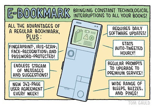 E-bookmark - bringing constant technological interruptions to all your books - a cartoon by Tom Gauld