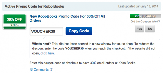 Kobo promo code offers how to keep track of them kobo coupon codes on bargainmoose fandeluxe Choice Image