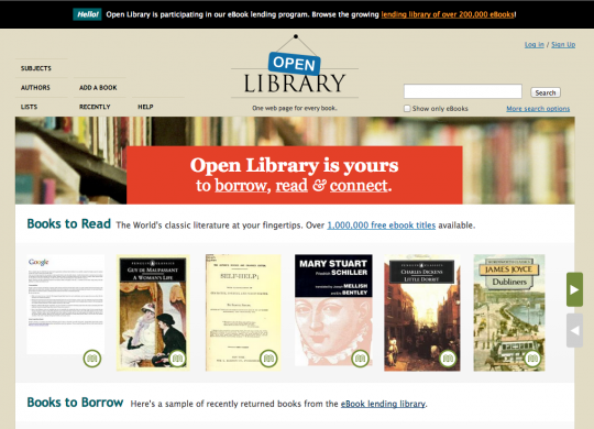 Open Library - front page