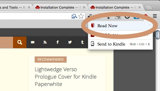 Readability for Chrome - using the Read Now option